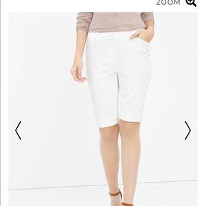 White stretch Bermuda shorts